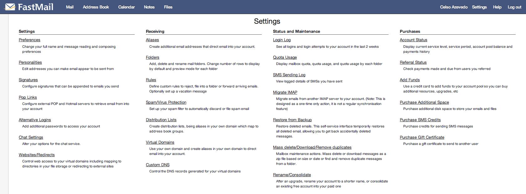 FastMail Opções Avançadas