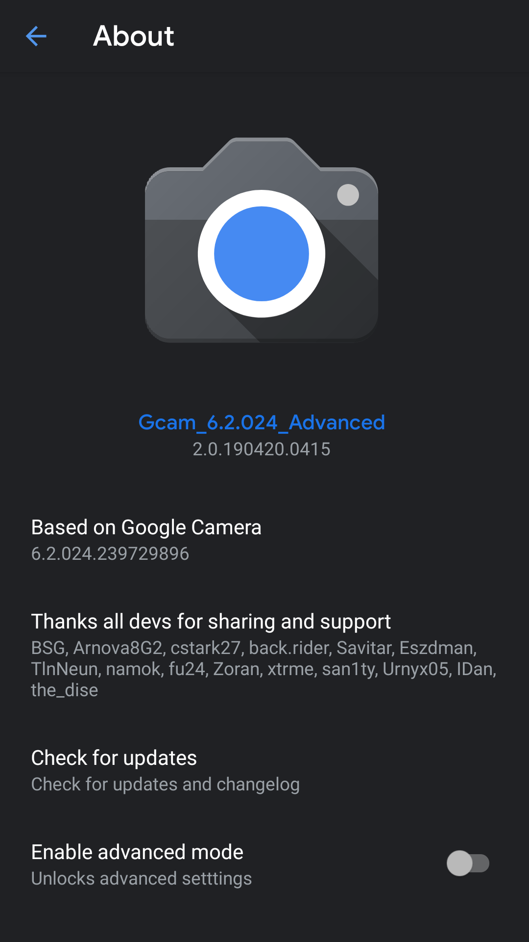 Arnova8G2: Gcam_6 2 024_Advanced_V2 0 190420 0415 apk