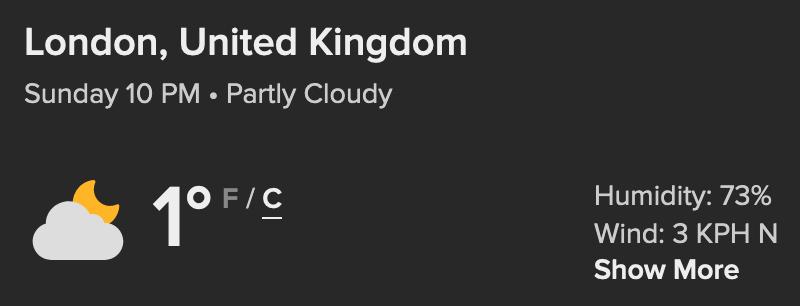 Temperature in London